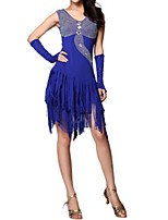 cheap -Latin Dance Dresses Women's Performance Polyester Tassel / Crystals / Rhinestones Dress