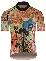 cheap -21Grams Men's Short Sleeve Cycling Jersey 100% Polyester Black / Yellow Animal Bike Jersey Top Mountain Bike MTB Road Bike Cycling UV Resistant Breathable Quick Dry Sports Clothing Apparel / Stretchy