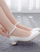 cheap -Women's Wedding Shoes Block Heel Round Toe Buckle PU Sweet / Minimalism Spring & Summer / Fall & Winter White / Party & Evening