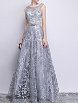 cheap -A-Line Jewel Neck Floor Length Polyester Glittering / Gray Prom / Formal Evening Dress with Sequin / Appliques 2020