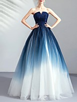 cheap -Ball Gown Strapless Floor Length Tulle Color Block / Blue Prom / Formal Evening Dress with Ruched / Pleats 2020