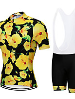 cheap -21Grams Men's Short Sleeve Cycling Jersey with Bib Shorts Green / Yellow Floral Botanical Bike Clothing Suit UV Resistant Breathable 3D Pad Quick Dry Sweat-wicking Sports Patterned Mountain Bike MTB