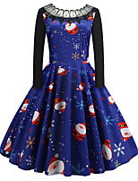 cheap -Women's Party Daily Cute Street chic Swing Dress - Print Patchwork Print Blue S M L XL