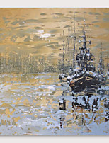 cheap -IARTS®Hand Painted Ships at dusk Oil Painting   with Stretched Frame For Home Decoration