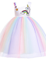cheap -Unicorn Dress Flower Girl Dress Girls' Movie Cosplay A-Line Slip Cosplay Purple / Yellow Dress Halloween Carnival Masquerade Tulle Polyester