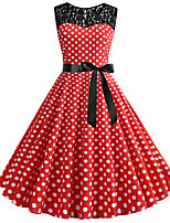 cheap -Women's Red Dress Cute Street chic Party Daily Swing Polka Dot Color Block Patchwork Print S M / Cotton