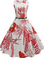 cheap -Women's White Dress Active Party Daily Swing Print Patchwork Print S M / Cotton