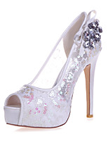 cheap -Women's Wedding Shoes Stiletto Heel Peep Toe Rhinestone / Bowknot Lace Sweet Spring & Summer White / Red / Ivory / Party & Evening