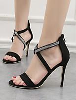 cheap -Women's Sandals Stiletto Heel Round Toe Suede Summer Black / Red / Khaki