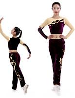 cheap -Cheerleader Costume Gymnastics Suits Women's Girls' Kids Pants / Trousers Spandex High Elasticity Handmade Long Sleeve Competition Dance Rhythmic Gymnastics Gymnastics Burgundy