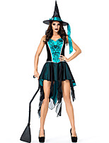 cheap -Witch Outfits Party Costume Adults' Women's Halloween Halloween Festival / Holiday Polyster Blue Women's Carnival Costumes / Dress / Hat