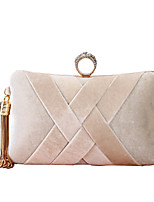 cheap -Women's Crystals / Tassel Polyester / Alloy Evening Bag Solid Color Almond