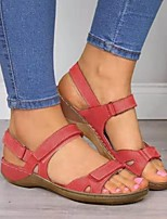 cheap -Women's Sandals Low Heel Peep Toe PU Minimalism Spring & Summer Fuchsia / Yellow / Blue