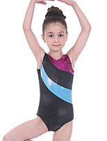 cheap -Gymnastics Leotards Girls' Kids Leotard Spandex High Elasticity Breathable Sparkly Sleeveless Training Ballet Dance Gymnastics Black