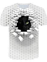 Недорогие -Жен. Большие размеры Контрастных цветов 3D Черное и белое С принтом Футболка Классический преувеличены Повседневные Спорт Белый