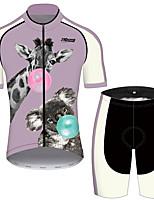 Недорогие -21Grams Муж. С короткими рукавами Велокофты и велошорты Фиолетовый Животное Жираф Коала Велоспорт Наборы одежды Устойчивость к УФ Дышащий 3D-панель Быстровысыхающий Впитывает пот и влагу Виды спорта