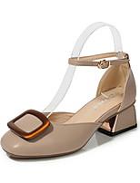 cheap -Women's Sandals Chunky Heel Round Toe PU Spring & Summer Almond / Khaki