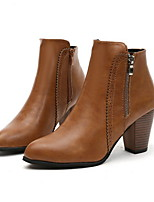 cheap -Women's Boots Chunky Heel Pointed Toe PU Booties / Ankle Boots Fall & Winter Black / Brown