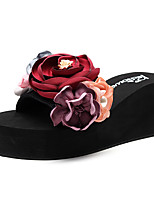 cheap -Women's Slippers & Flip-Flops Wedge Heel Open Toe Imitation Pearl / Satin Flower Polyester Sweet / Chinoiserie Walking Shoes Summer Purple / Red / Pink