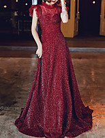 cheap -A-Line High Neck Sweep / Brush Train Tulle / Sequined Glittering / Red Prom / Formal Evening Dress with Sequin / Pleats 2020