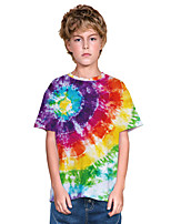 cheap -Kids Boys' Active Punk & Gothic Color Block 3D Rainbow Short Sleeve Tee Blue