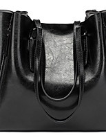 cheap -Women's Zipper PU Top Handle Bag Solid Color Red / Green / Black