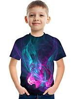 cheap -Kids Boys' Basic Street chic Color Block 3D Print Short Sleeve Tee Purple