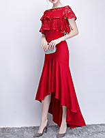 cheap -Mermaid / Trumpet Jewel Neck Asymmetrical Polyester Hot / Red Formal Evening / Wedding Guest Dress with Ruffles 2020