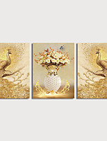 cheap -Print Canvas Painting Golden-Peacocks and Flower in Vase Modern Art Prints set of 3 with Stretcher