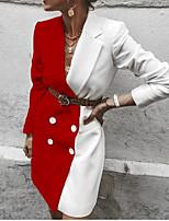 cheap -Women's Blazer, Color Block Notch Lapel Polyester Red / Khaki / Black