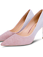 cheap -Women's Wedding Shoes Crystal Sandals Stiletto Heel Pointed Toe Sequin Synthetics Sweet Walking Shoes Spring &  Fall / Spring & Summer Pink / Gold / Gray / Party & Evening / Color Block