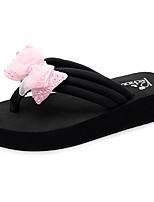 cheap -Women's Slippers & Flip-Flops Flat Heel Open Toe Bowknot Polyester Casual / Minimalism Walking Shoes Summer Black / Pink / Beige