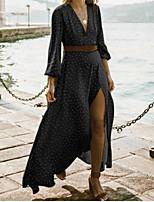 cheap -Women's A Line Dress - Polka Maxi Dot Black Wine Blue S M L XL