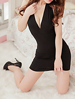 cheap -Women's Backless Suits Nightwear Solid Colored Black One-Size