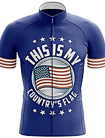 cheap -21Grams Men's Short Sleeve Cycling Jersey 100% Polyester Blue American / USA National Flag Bike Jersey Top Mountain Bike MTB Road Bike Cycling UV Resistant Breathable Quick Dry Sports Clothing Apparel