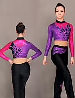 cheap -Cheerleader Costume Gymnastics Suits Women's Girls' Kids Pants / Trousers Spandex High Elasticity Handmade Long Sleeve Competition Dance Rhythmic Gymnastics Gymnastics Purple