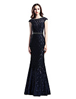 cheap -Mermaid / Trumpet Glittering Beautiful Back Engagement Formal Evening Dress Illusion Neck Short Sleeve Floor Length Tulle with Sash / Ribbon Beading Sequin 2020