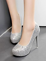 cheap -Women's Wedding Shoes Stiletto Heel Round Toe Sequin PU Spring & Summer White / Champagne / Silver
