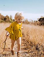 Недорогие -Дети (1-4 лет) Девочки Симпатичные Стиль Уличный стиль Горошек Геометрический принт Пэчворк С принтом С короткими рукавами Мини Платье Желтый
