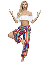 cheap -Women's Yoga Pants High Split Palazzo Wide Leg Stripes Red / black Mineral Green Watermelon Red Black Dance Gym Workout Bloomers Sport Activewear Breathable Soft Inelastic Slim