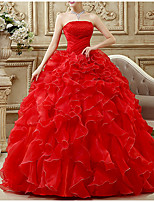 cheap -Ball Gown Strapless Floor Length Polyester / Chiffon Luxurious / Red Prom / Formal Evening Dress with Beading / Tier 2020