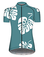 cheap -21Grams Women's Short Sleeve Cycling Jersey 100% Polyester Mint Green Floral Botanical Bike Jersey Top Mountain Bike MTB Road Bike Cycling UV Resistant Breathable Quick Dry Sports Clothing Apparel