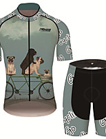 cheap -21Grams Men's Short Sleeve Cycling Jersey with Shorts Black / Green Dog Animal Bike Clothing Suit UV Resistant Breathable 3D Pad Quick Dry Sweat-wicking Sports Dog Mountain Bike MTB Road Bike Cycling