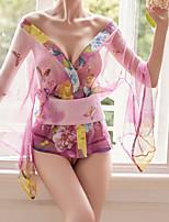 cheap -Women's Lace / Mesh Uniforms & Cheongsams / Suits Nightwear Geometric / Solid Colored Blushing Pink Black One-Size