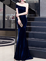 cheap -Sheath / Column One Shoulder Sweep / Brush Train Velvet Elegant / Blue Engagement / Formal Evening Dress with Pleats 2020
