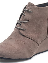 cheap -Women's Boots Wedge Heel Round Toe Suede Booties / Ankle Boots Fall & Winter Black / Brown / Gray