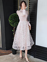 cheap -A-Line High Neck Tea Length Lace / Tulle Flirty / Pink Graduation / Prom Dress with Appliques / Pleats 2020 / Illusion Sleeve