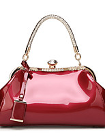 cheap -Women's Polyester / PU Top Handle Bag Solid Color Black / Wine / White