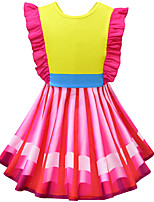 cheap -Kids Girls' Active Sweet Striped Color Block Patchwork Bow Ruffle Sleeveless Knee-length Dress Yellow