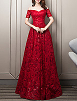 cheap -A-Line Sweetheart Neckline Floor Length Lace Floral / Red Formal Evening / Wedding Guest Dress with Sequin / Embroidery 2020